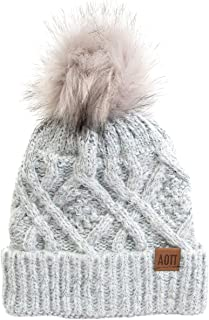 Desert Cactus Alpha Omicron Pi Faux Fur Pom Beanie Hat Winter AOII Gray