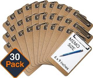 "Mini Clipboard 6"" x 9"" (Set of 30) Memo Clipboard | Small Clipboard | ECO Friendly | Small Clipboards Pack | Mini Clipboards | Low Profile Clip, Classroom Supplies (Pen NOT Included)"