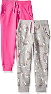 Amazon Brand - Spotted Zebra Girls' Toddler & Kids 2-Pack Fleece Jogger Pants