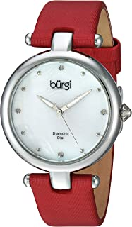 Burgi Women's Quartz Watch, Analog Display and Leather Strap Bur169Rd, Red Band