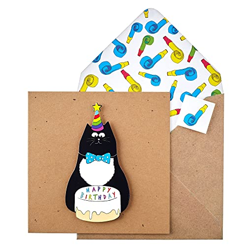 Tache TC87 Premium Handmade Happy Birthday Cat Card