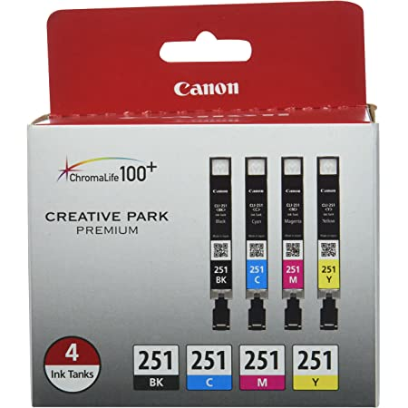 Canon CLI-251 BK/CMY 4PK Compatible to MG6320, iP7220, MG5420, MX922, MG7120, MG6420, MG5520, iX6820, iP8720, MG7520, MG6620, MG5620