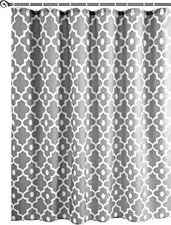 Biscaynebay Textured Fabric Shower Curtains, Morocco Pearl Prinetd Bathroom Curtains, Silver Grey 72 by 72 Inches