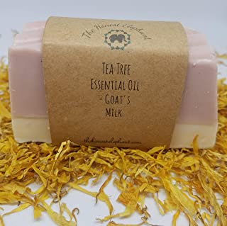 The Honest Elephant Handmade, Goat's Milk Lathering Soap Bar - Tea Tree Pure Essential Oil for Acne, Antibacterial, Dermatitis | FREE SHIPPING!