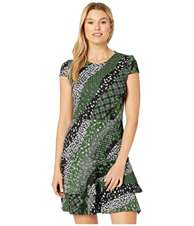 MICHAEL Michael Kors Bias Collage Double Tier Dress (Evergreen) Women