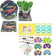 Dinosaur Party Roar Bundle Pack, Dinnerware and Party Favors (204 Pieces)