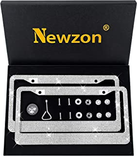 Newzon Bling License Plate Frames Cars 2 Pack Rhinestones Crystal White License Plate Frame for Women 2 Holes Stainless Steel Licence Plate Front Back License Anti-Theft Screw Cap