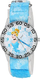ساعة ديزني سندريلاه كوارتز البلاستيك والنايلون للبنات - اللون: ازرق - W002934