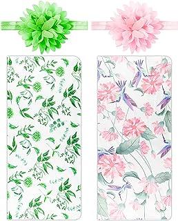 Newborn Baby Swaddle Blankets Headband Sets Including 2Pcs Swaddle Blanket Headband Green Pink Lilies Floral Pattern Infan...