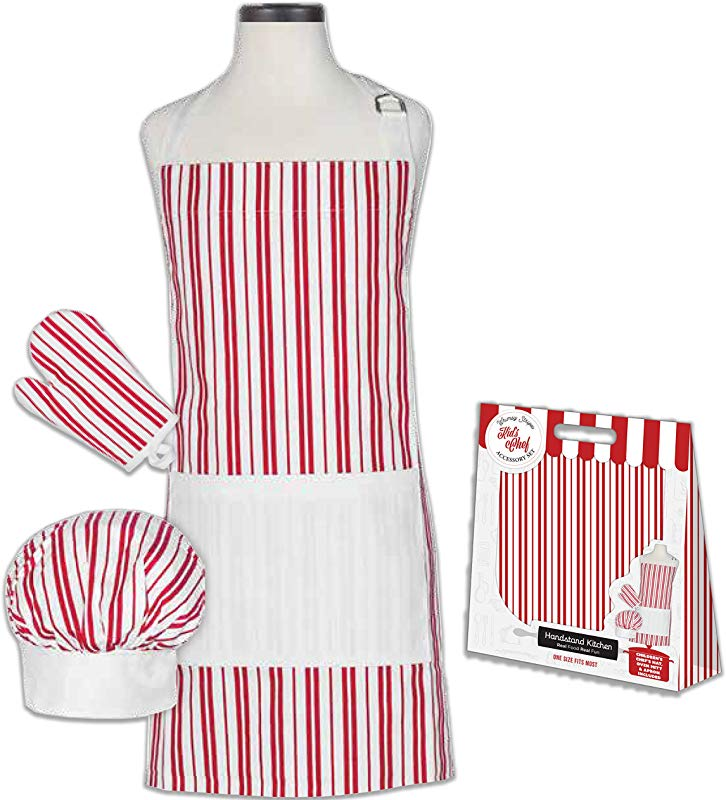 Handstand Kitchen Child S Classic Red Stripe 100 Cotton Apron Mitt And Chef S Hat Gift Set