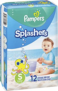 Pampers Splashers Swim Diapers Disposable Swim Pants, Small (13-24 lb), 12 Count