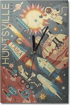Elegant Lantern Press Huntsville, Alabama   Space Geometric (10x15 Wood Wall Clock,  Decor Ready