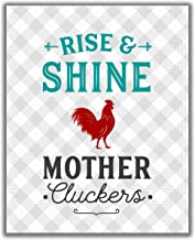 Funny 'Mother Cluckers'' Kitchen Wall Art Sign – 8×10 UNFRAMED Gray,..