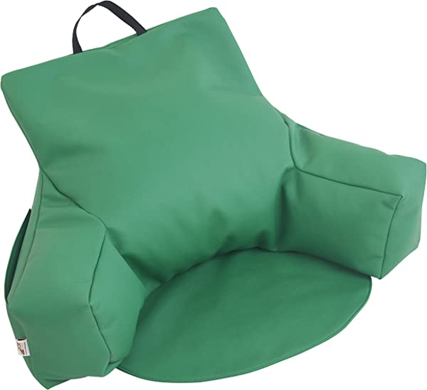 ECR4Kids Relax N Read Bean Bag Back Pillow Chair With Storage Pockets Green