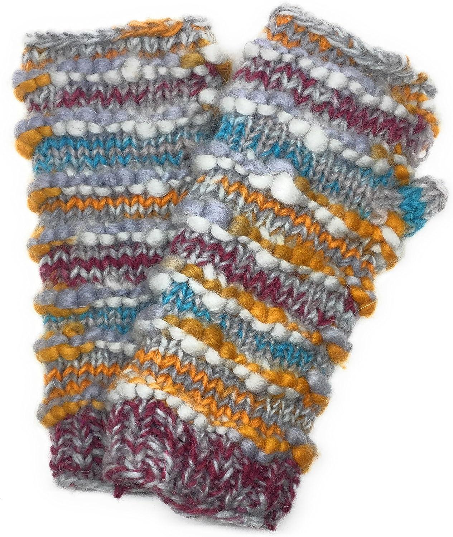 Hand Knit Winter Fingerless Striped Texting Gloves Warm Wool Fleece Lined