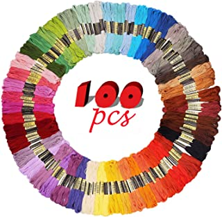 iShyan Embroidery Floss Thread 100 Skeins 100 Colors with Color Numbers for Cross Stitch Crochet Friendship Bracelets Handcrafts 8.75 Yards Long Per Skein with 6 Strands