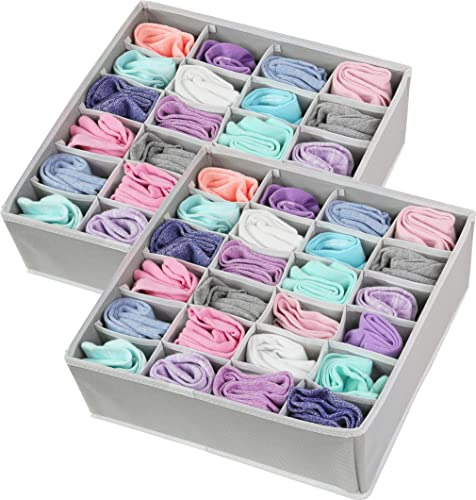 wholesale 2 Pack - Simple Houseware new arrival Closet Socks Organizer, online 24 Cell Drawer Divider, Grey sale