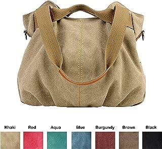Queenie - 1 Pc Women's Medium Size Casual Cotton Canvas Tote Bag Shopping Bag Lady Handbag Shoulder Bag Beach Bag Model K-825 Color : Khaki