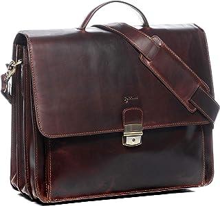 BACCINI Aktentasche echt Leder Luca XL groß Businesstasche Bürotasche Laptoptasche Laptopfach 15.6 Ledertasche Herren