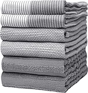 """Premium Kitchen Towels (20""""x 28"""", 6 Pack) – Large Cotton Kitchen Hand Towels – Flat & Terry Towel – Highly Absorbent Tea T..."""