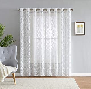 LinenZone Lisa Knitted Lace Extra Wide Patio Panel - Medallion Design with Scalloped Bottom - Size 110 Inch Wide - 84 Inch Long - 16 Grommets (1 Panels 110 x 84, Ivory)