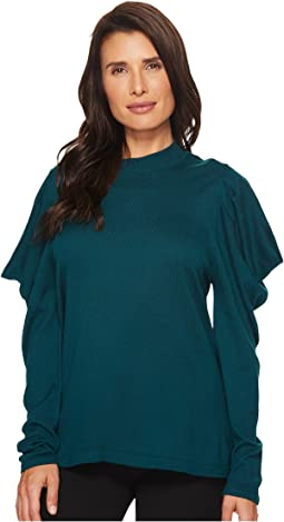 Long Sleeve Mock Neck Drape Shoulder Sweater