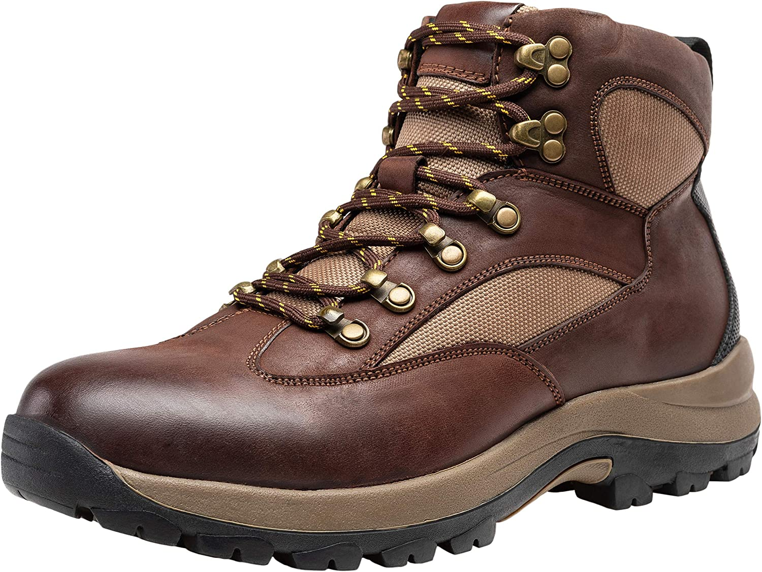 JOUSEN Men's Hiking Boot Leather Work Boots for Men (11.5D(M) US, Brown)
