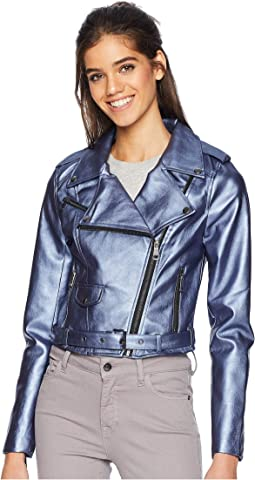 Shiny Faux Leather Biker Jacket