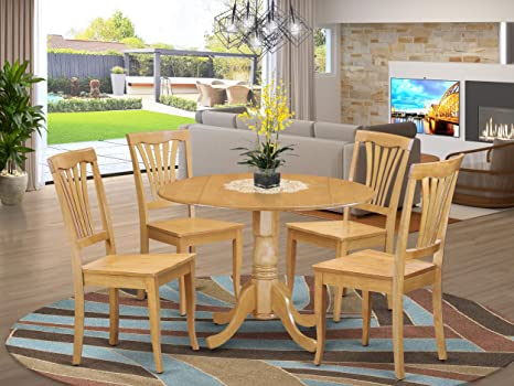 Amazon Com 5 Pc Kitchen Table Set Drop Leaf Table And 4 Dinette Chairs Table Chair Sets