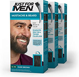 Just For Men - Tinte de barba y bigote para hombre color negro marrón (M45)pack de 3 unidades