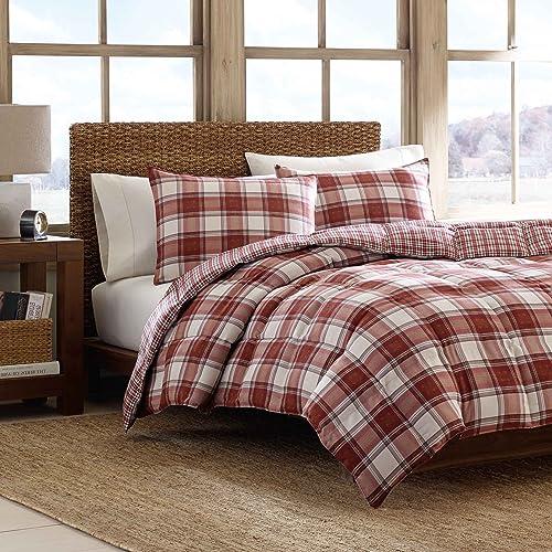 Eddie Bauer 201338 Edgewood Plaid Down Alternative Reversible Comforter Set, Twin, Red