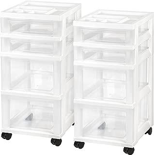 IRIS 4-Drawer Rolling Storage Cart with Organizer Top, White, 2 Pack
