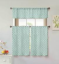 Home Maison Moana Geometric Print Linen Textured Kitchen Tier & Valance Set | Small Window Curtain for Cafe, Bath, Laundr...