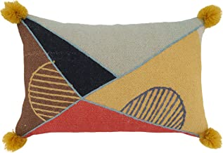 """Saro Lifestyle Delphine Collection Geometric Embroidered Lumbar Pillow Cover, 16"""" x 24"""", Multi"""