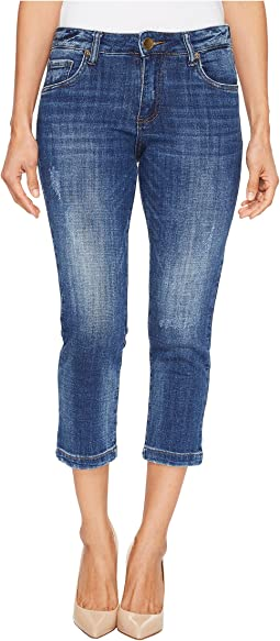 KUT from the Kloth - Petite Lauren Crop Straight Leg Jeans in Entrusted/Medium Base Wash