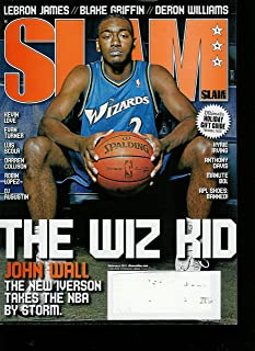 Slam #144 Magazine February 2010 (Cover) The Wiz Kid John Wall the New Ivrson Takes the NBA By Storm //Lebron James ((Lebron James (The Heat) Poster Inside) // Blake Griffin // Deron Williams