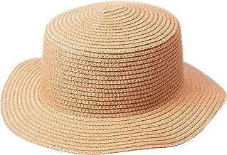 YUTTALIA 麦わら帽子 帯なし 裏地なし つば広 シンプル ナチュラル ブラウン レディース UV対策 紫外線対策