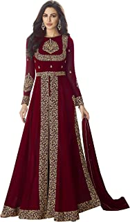 AnK Women's Georgette Embroidered Anarkali Salwar Suit With Dupatta (Free Size)