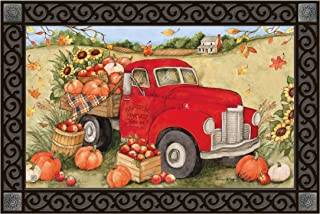 Studio M MatMates Pumpkin Delivery Fall Harvest Decorative Floor Mat Indoor or Outdoor Doormat with Eco-Friendly Recycled Rubber Backing, 18 x 30 Inches