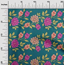 oneOone Cotton Poplin Teal Green Fabric Leaves & Flowers Floral Sewing Craft Projects Fabric Prints by Yard 42 Inch Wide