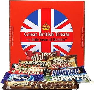 British Foods Worldwide Mars Gift Box | 12 British Chocolate Bars (Mars Bounty Maltesers Galaxy Minstrels Topic Snickers Milky Way Ripple)