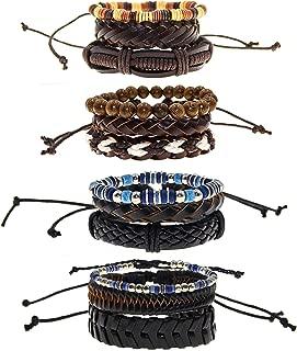12 Leather Bracelets for Men and Women, Handmade Boho Bracelets Pack with Adjustable Woven Leather Bracelet, Stretch Round Wood Beads Bracelets and Vintage Ceramic Beads - Unisex Fashion Jewelry
