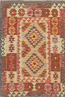 South-Western Geometric Kilim Turkish Area Rug Handmade Oriental Carpet Wool 3x5