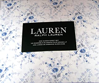 Lauren 4 Piece Queen Size Floral Print Sheet Set Blue and White100% Cotton
