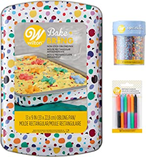 Wilton Triangle Print Birthday Cake Pan and Decorating Set, 3-Piece