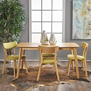 Christopher Knight Home Aman Mid Century Natural Oak Finished 5 Piece Wood Dining Set with Green Tea Fabric Chairs