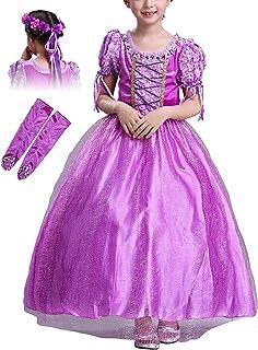 bfd8b4d6d7efe Eleasica Enfant Fille Maxi Robe de Cosplay Princesse Raiponce Tutu  Guirlande Manches Courtes Haute Qualité Déguisements