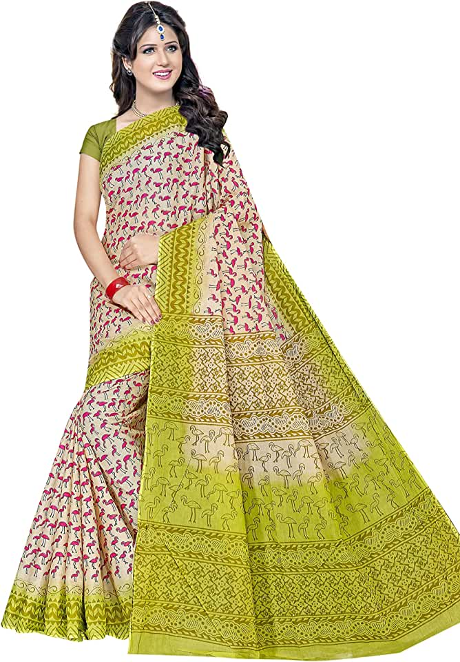 Indian TAMAIRA FASHION Women's Plain Weave Pure Cotton Saree Without Blouse Piece (AB5_Parent) Saree