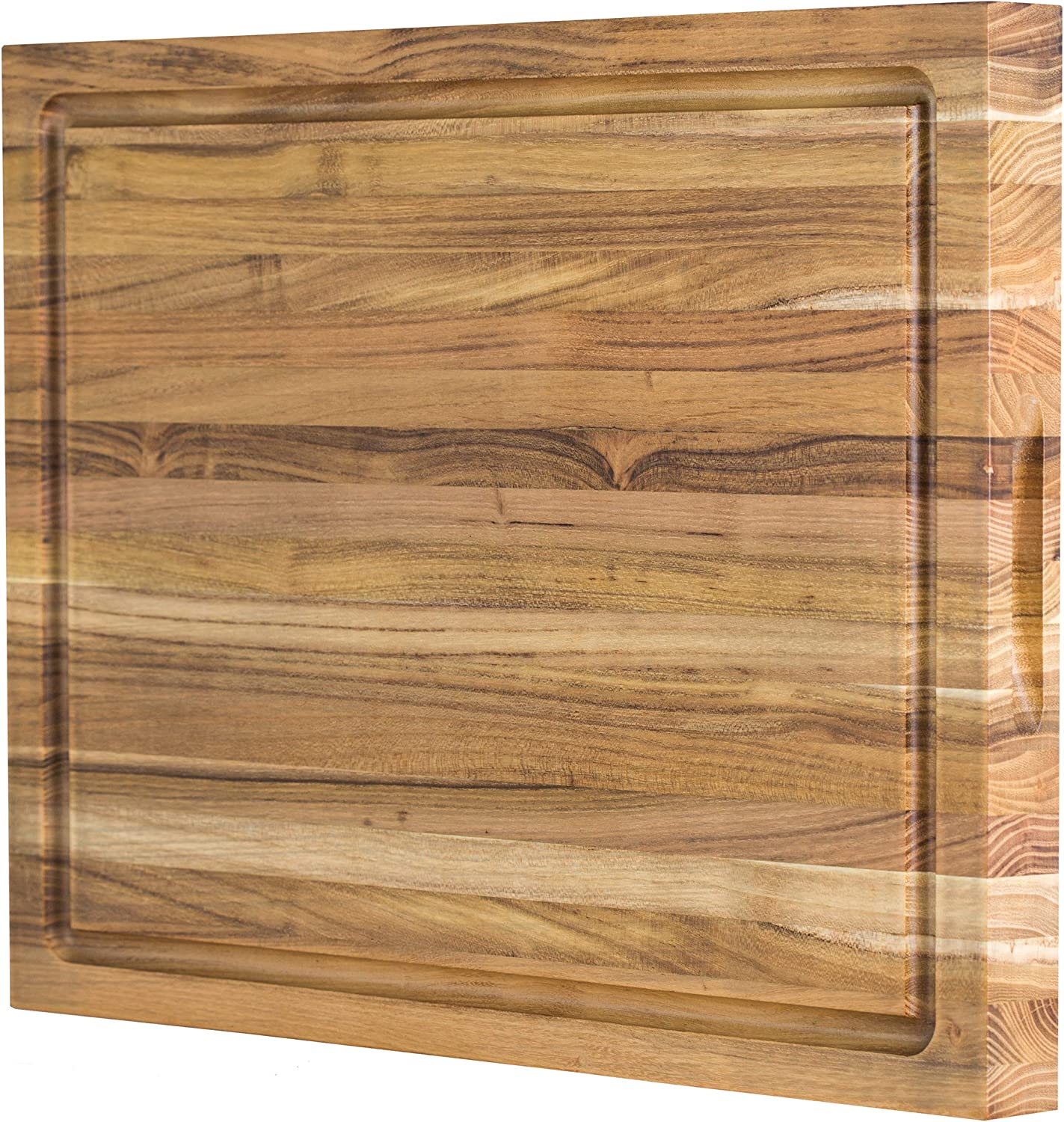 Large Reversible Teak Wood Cutting Board  18x14x1.25 with Juice Groove (Gift Box Included) by Sonder Los Angeles