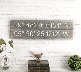 Longitude Latitude Sign - GPS Coordinates Wood Plaque Unique Wedding Gift